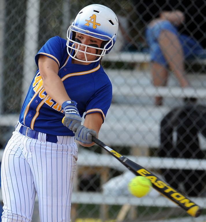 Description of . Bishop Amat's Eryn Sustayta in the first inning of a prep softball game against Santiago at Bishop Amat High School on Wednesday, March 27, 2013 in La Puente, Calif. Bishop Amat won 5-3.  (Keith Birmingham Pasadena Star-News)