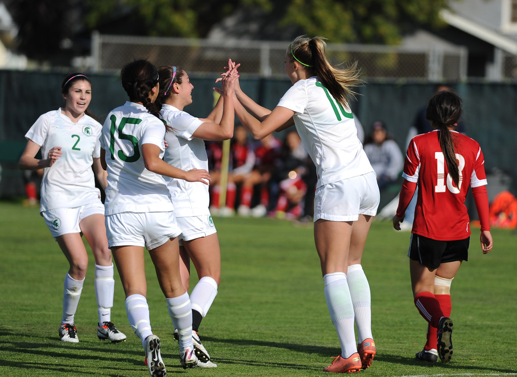 . 02-21-2012--(LANG Staff Photo by Sean Hiller)- South Torrance girls soccer beat Artesia 5-0 in Thursday\'s CIF Southern Section Division IV quarterfinal at South High. Kyla Diekmann celebrates her first goal to of a hat trick in the first half.
