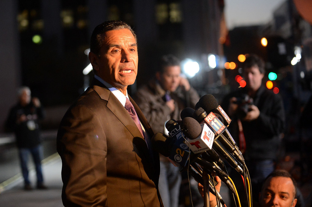 . Mayor Antonio Villaraigosa speaks to members of the media outside the Los Angeles Police Department Headquarters after a man believed to be Christopher Dorner was involved in a shootout near Big Bear, Ca Tuesday, February 12, 2013.(Andy Holzman/Los Angeles Daily News)