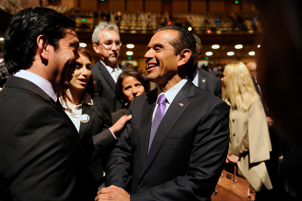 . Mayor Antonio Villaraigosa is greeted by supporters after his State of the City address at UCLA, Tuesday, April 9, 2013. (Michael Owen Baker/Staff Photographer)