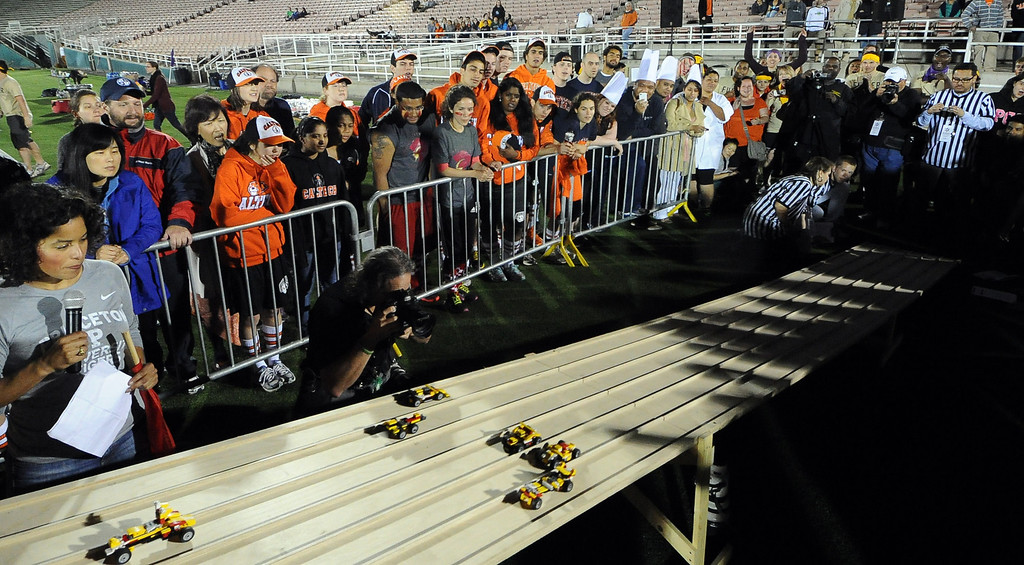 . The student built lego car race competition during the the 2013 Collegiate Field Tournament at the Rose Bowl on Friday, April 5, 2013 in Pasadena, Calif.  (Keith Birmingham Pasadena Star-News)