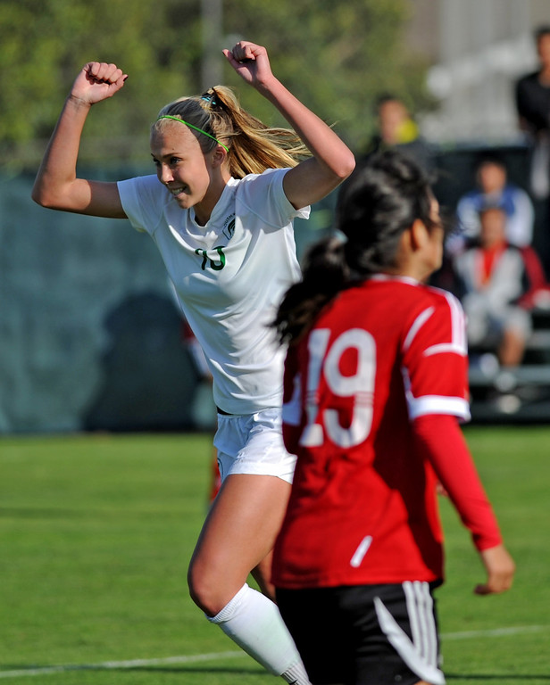 . 02-21-2012--(LANG Staff Photo by Sean Hiller)- South Torrance girls soccer beat Artesia 5-0 in Thursday\'s CIF Southern Section Division IV quarterfinal at South High. Kyla Diekmann celebrates her second goal enroute to a hat trick in the first half.