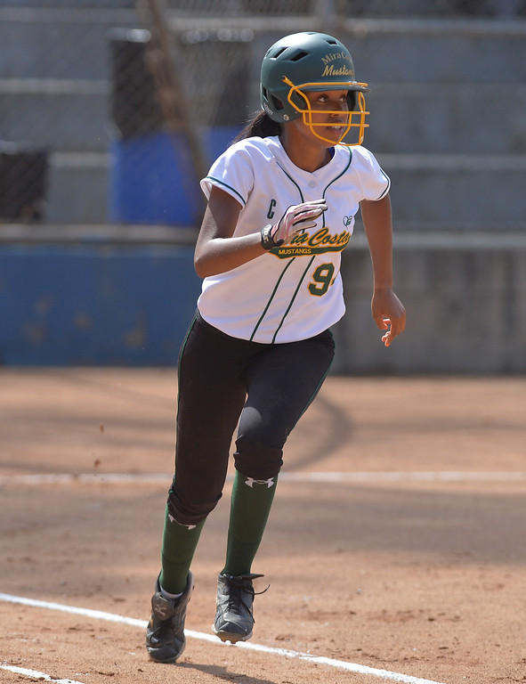 . 0517_SPT_TDB-L-MC-TORRANCE--- Torrance, CA--5/16/13--- Staff Photo: Robert Casillas  - Daily Breeze / LANG--- Mira Costa defeated Torrance High 7-1 in CIF DIV III softball playoff game at Wilson Park in Torrance. Taylor Glover runs out double.