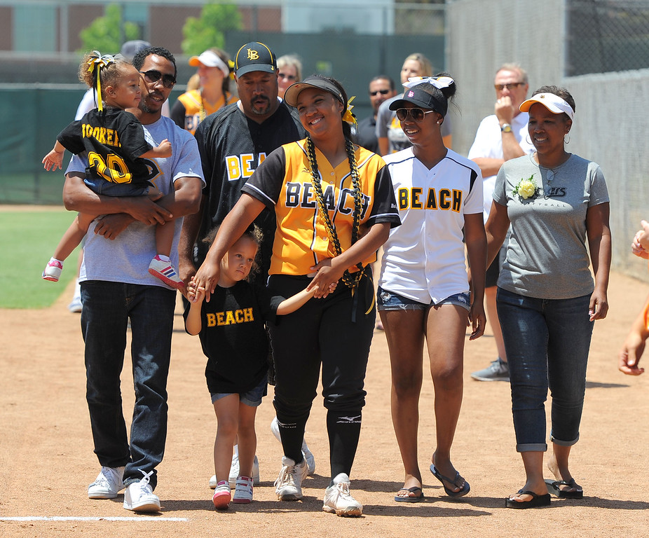 . Senior Ashlynn Booker and her family before LBSU lost to Cal Poly softball 3-0 in Long Beach, CA on Sunday, May 4, 2014.  (Photo by Scott Varley, Daily Breeze)