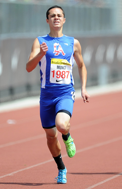 Description of . Los Altos Hunter Munci competes in the 400 meters race in the during the Arcadia Invitational at Arcadia High School on Saturday, April 6, 2013 in Arcadia, Calif.  (Keith Birmingham Pasadena Star-News)