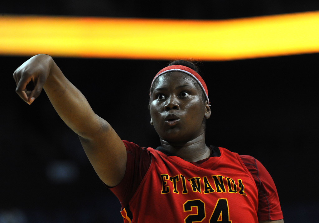 . Etiwanda\'s Amy Okonkwo shoots a free throw at Citizens Business Bank Arena in Ontario, CA on Saturday, March 22, 2014. Long Beach Poly vs Etiwanda in the CIF girls open division regional final. 2nd half, Poly won 56-46. Photo by Scott Varley, Daily Breeze)