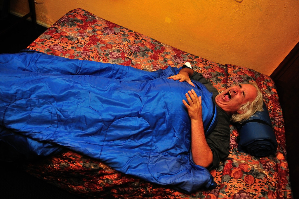 . Ready for bed, with sleeping bags, at the El Capitan Motor Inn.Photo by Thomas Wasper for the Press Telegram
