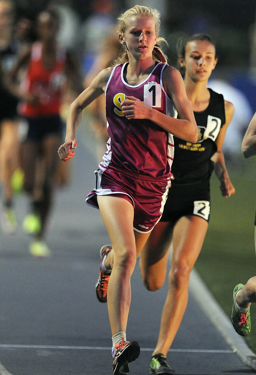 . Simi Valley\'s Sarah Baxter wins the 3200 meter race during the CIF-SS Masters Meet at Cerritos College on Friday, May 24, 2013 in Norwalk, Calif.  (Keith Birmingham Pasadena Star-News)