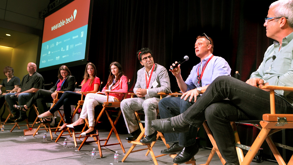 . Eric Miller, Founder and CEO of Epiphany Eyewear on discussing panel discussing smart eyewear at Wearable Tech conference, where entertainment and health meet wearables July 17, 2014, at Pasadena Convention Center. (Photo by Walt Mancini/Pasadena Star-News)
