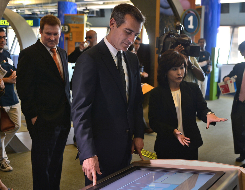 . 0917_NWS_TDB-L-HYPERION-- Los Angeles Mayor Eric Garcetti was on hand to open new Environmental Learning Center at Hyperion treatment plant in Playa Del Rey. Mayor Garcetti looks at one of many interactive exhibits at ELC.   20130916 - Playa Del Rey, CA --  Photo by : Robert Casillas / DAILY BREEZE
