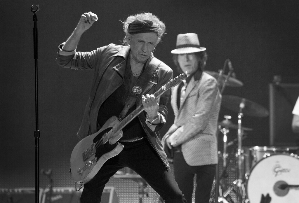. Keith Richards of The Rolling Stones performs at the O2 arena in east London, Sunday, Nov. 25, 2012. The band are playing four gigs to celebrate their 50th anniversary, including two shows at London�s O2 and two more in New York. (Photo by Joel Ryan/Invision/AP)