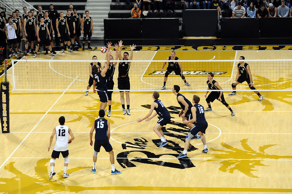 . Long Beach, CA on Friday, March 7, 2014 #2 BYU vs #3 Long Beach State men\'s volleyball at Walter Pyramid. (Photo by Scott Varley, Daily Breeze)