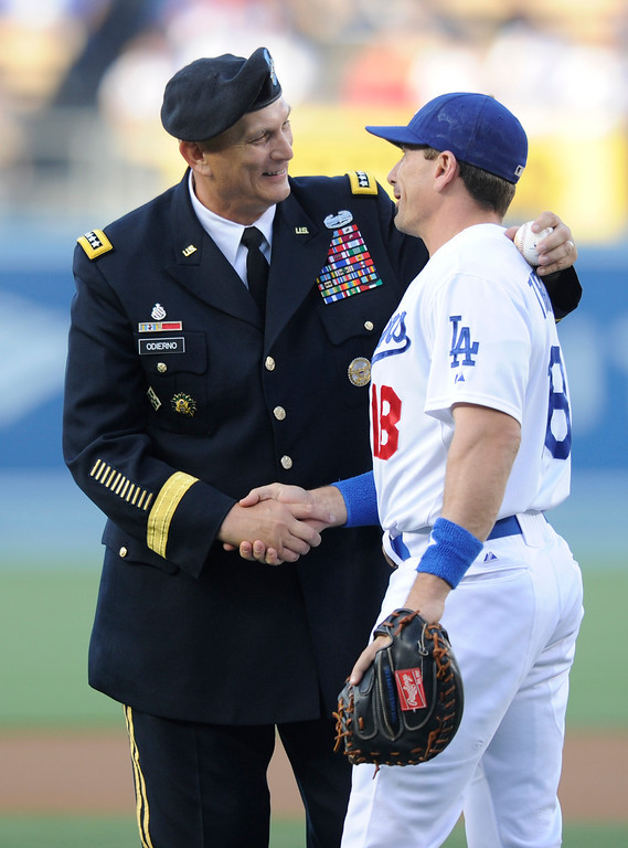 . US Army Chief of Staff General Raymond Odierno threw out the first pitch. The Dodgers defeated the Los Angeles Angels of Anaheim 5-2 in a game played at Dodger Stadium. Los Angeles, CA 6/12/2012(John McCoy/Photographer)