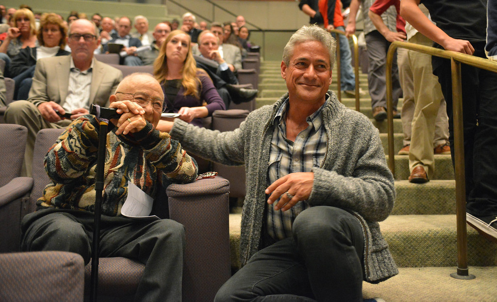 . 2-12-2013--(LANG Staff Photo by Sean Hiller)- Olympic divers Sammy Lee,left, and Greg Louganis attend Tuesday\'s Long Beach City Council meeting to participate in the discussion to build a temporary Belmont Pool in advance of building a replacement for the old pool, which has been deemed seismically unsafe.