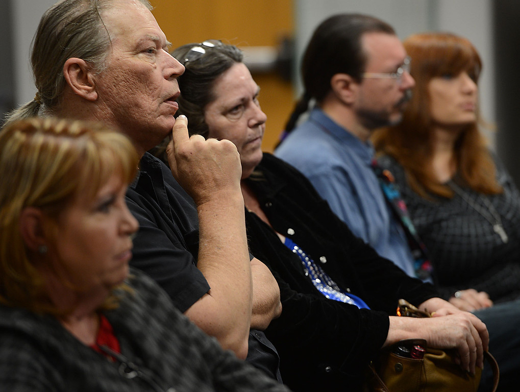 . Phillip Kelley, second from the left and his wife Nancy Kelley, center, listen as San Bernardino police announce the arrest of Jerome Anthony Rogers, 55, of San Bernardino in the murder of Mary Beth Blaskey. Kelley is the son of murder victim Josephine Kelley. The Kelleys say they\'re hopefully with Friday\'s arrest that their mother\'s killer will be found. Rick Sforza/Staff photographer