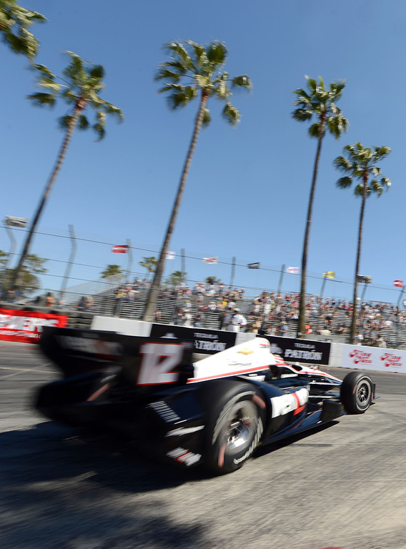. (Will Lester/Staff Photographer)  Indycar driver Will Power drives through the hairpin during the Friday afternoon practice session April 19, 2013 at the 39th annual Toyota Grand Prix of Long Beach.