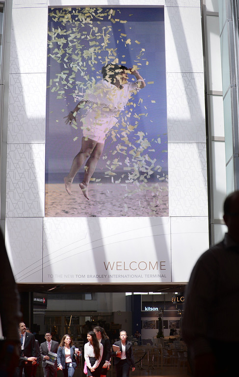 . A giant ever-changing video display at the entrance to the TBIT. Media preview of the new Tom Bradley International Terminal at LAX.  Photo by Brad Graverson 6-20-13