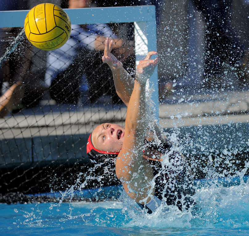 . 02-16-2012--(LANG Staff Photo by Sean Hiller)- Palos Verdes girls water polo defeated Upland 10-8 in Saturday\'s CIF Southern Section Division III quarterfinal at Palos Verdes High School. PV\'s Carley Radov makes a save first half.