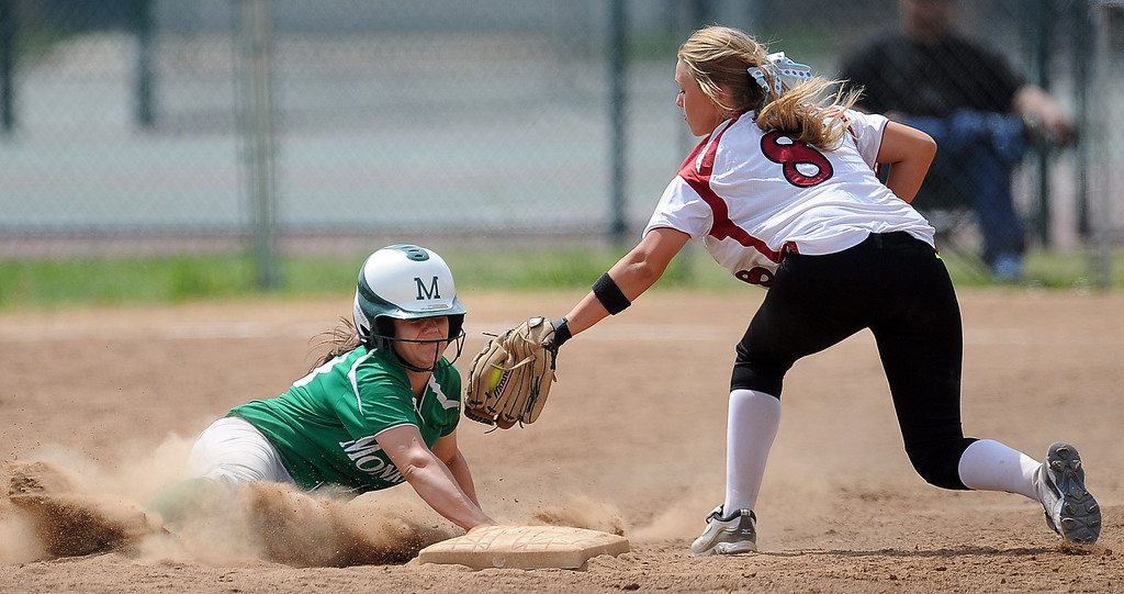 Description of . Covina shortstop Megan Troutman (8) tags out Monrovia's Brooke Mann at second base in the second inning of the Northview Tournament championship softball game at Northview High School on Thursday, April 4, 2013 in Covina, Calif.  Monrovia won 6-0. 