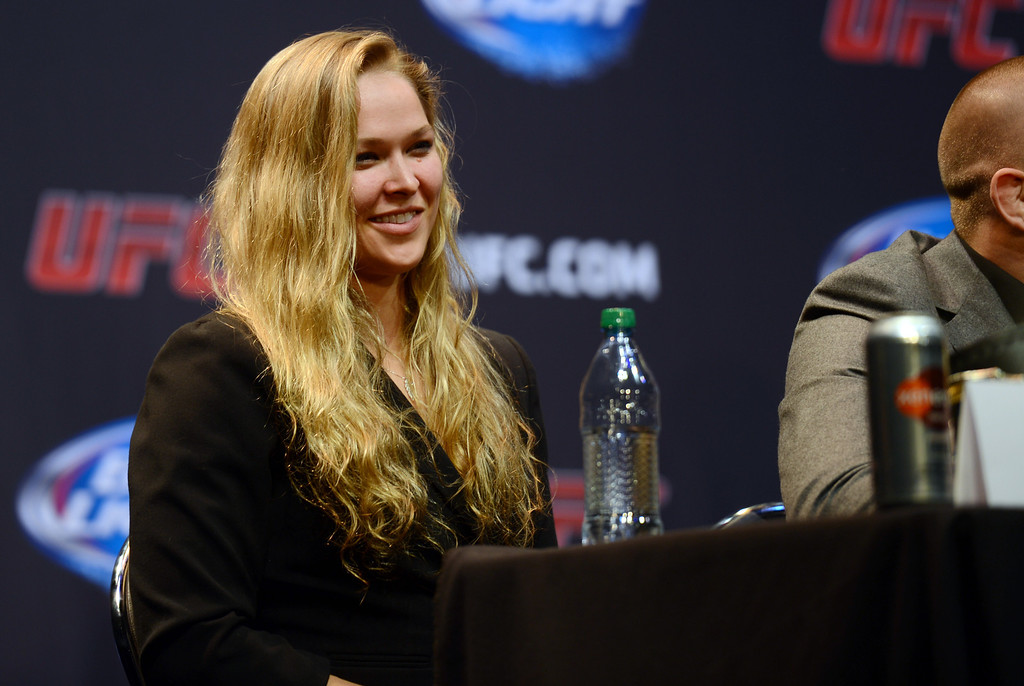 . UFC woman\'s bantamweight champion Ronda Rousey during the UFC World Tour at Club Nokia Tuesday, July 30, 2013 in Los Angeles. (Hans Gutknecht/Los Angeles Daily News)