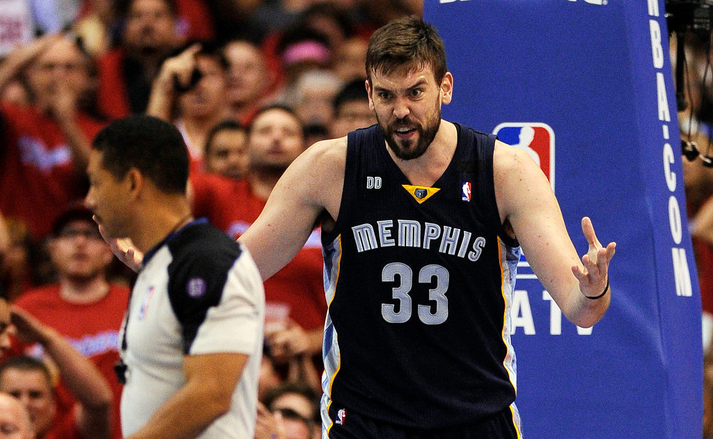 Description of . The Grizzlies' Marc Gasol #33 reacts to being called for a foul during their first round Western Conference Playoff game against the Clippers at the Staples Center in Los Angeles Saturday, April 20, 2013. The Clippers beat the Grizzlies 112-91. (Hans Gutknecht/Staff Photographer)