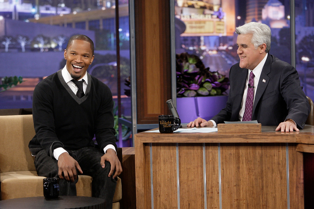 ". In this image released by NBC, Jamie Foxx, left, is shown during an interview with host Jay Leno on ""The Tonight Show with Jay Leno,\"" Monday, March 1, 2010, in Burbank, Calif. (AP Photo/NBC, Paul Drinkwater)"