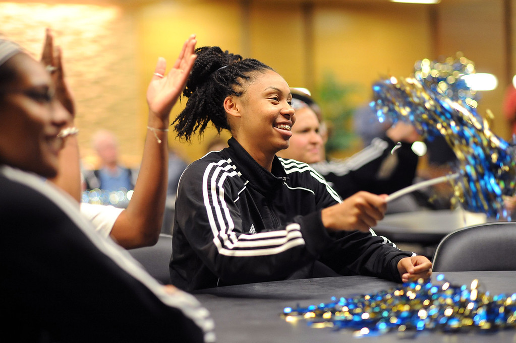 . Rhema Gardner reacts after her team received the 3rd seed in the NCAA tournament during the NCAA Women\'s Basketball Selection Show Monday March 18, 2013 in Westwood, CA.(Andy Holzman/Los Angeles Daily News)