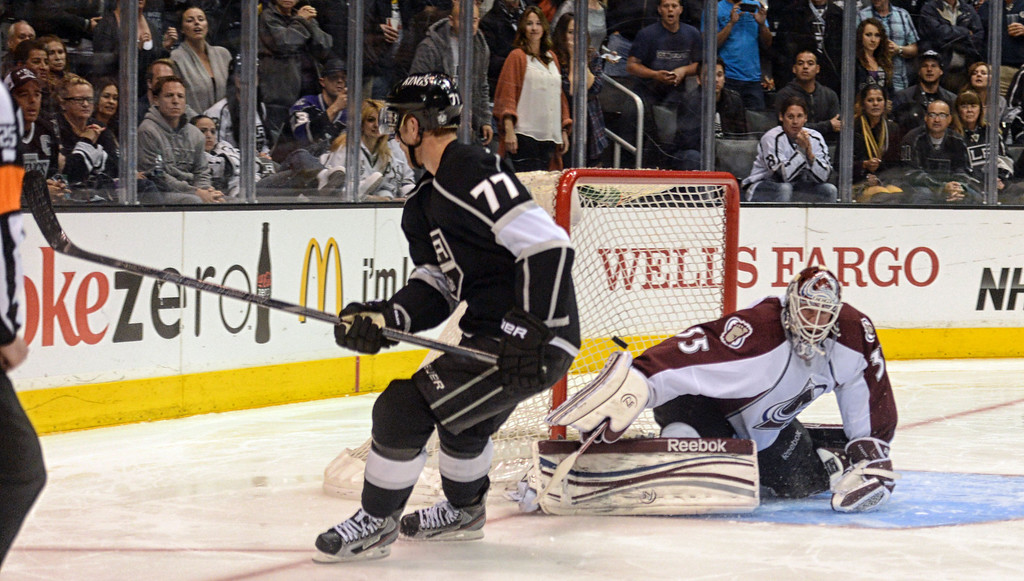 . Kings vs Avalanche hockey at the Staples Center in Los Angeles Thursday, April 11, 2013. The Kings beat the Avalanche 3-2 in a shootout. (Hans Gutknecht/Staff Photographer)
