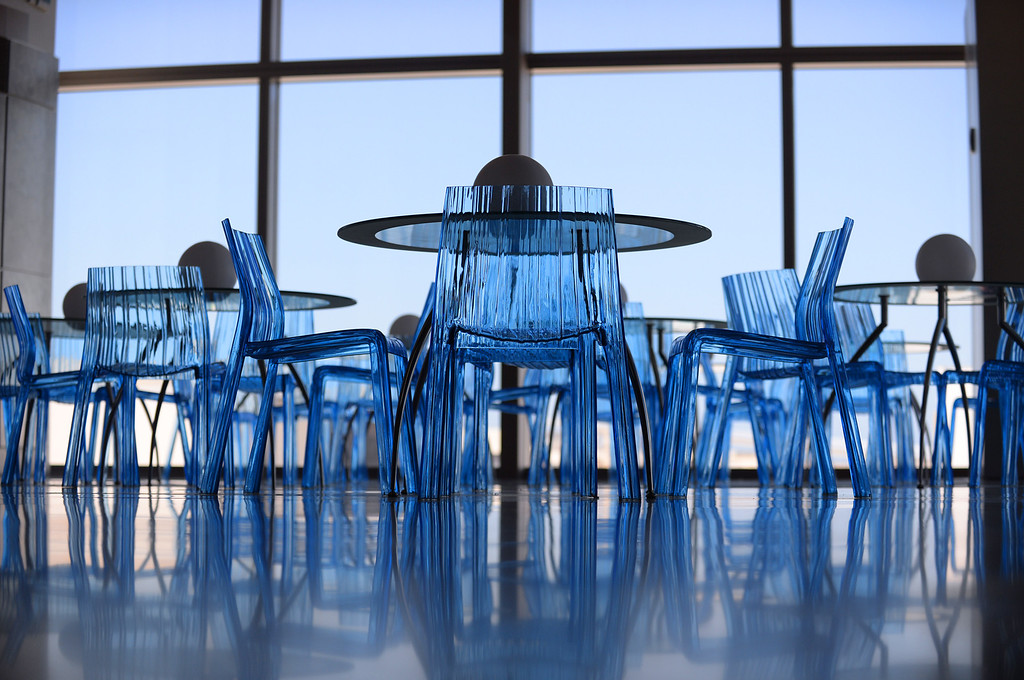 . Blue chairs. Media preview of the new Tom Bradley International Terminal at LAX.  Photo by Brad Graverson 6-20-13