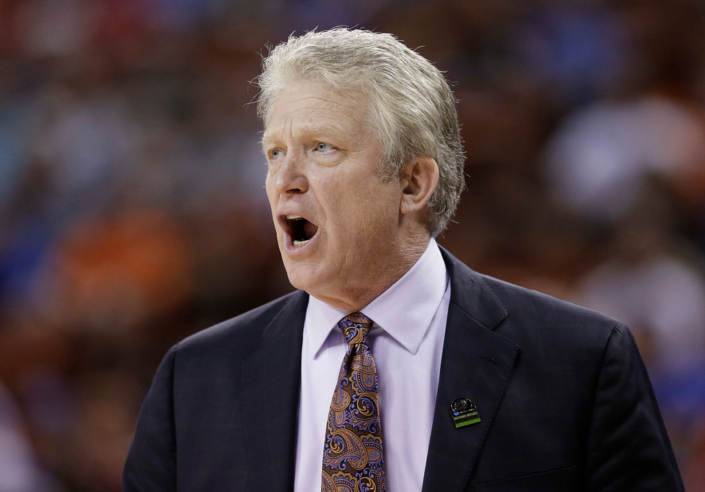 . Northwestern State coach Mike McConathy talks to his players during the first half of a second-round game against Florida in the NCAA men\'s college basketball tournament Friday, March 22, 2013, in Austin, Texas. (AP Photo/David J. Phillip)