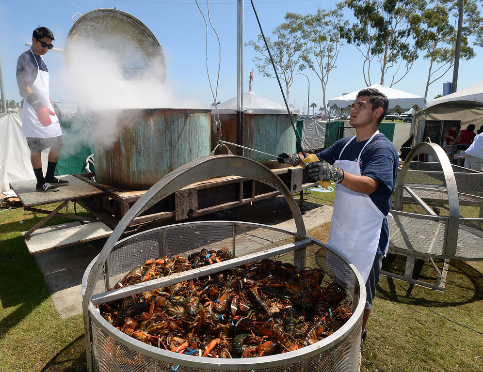 . The 17th Annual Original Lobster Festival at Rainbow Lagoon Sunday, September 08, 2013, in Long Beach.  Arthur Romero, right, and Michael Guttirez load a pot of lobsters for cooking. Photo by Steve McCrank / Daily Breeze