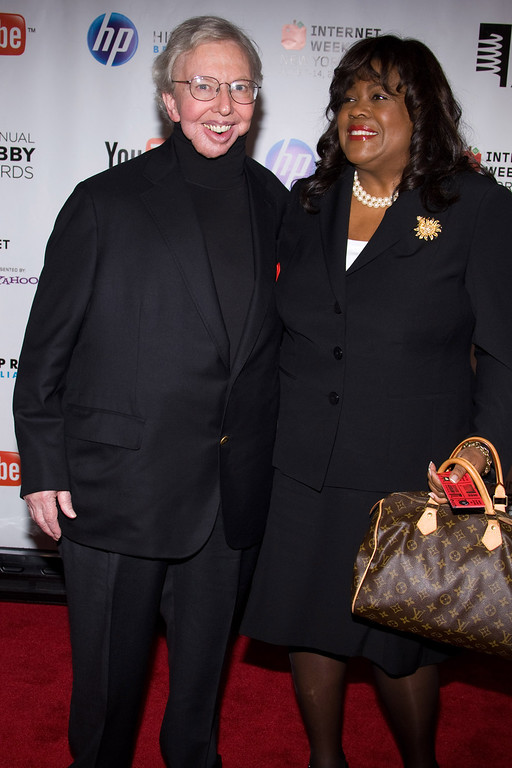 . Roger Ebert and wife Chaz Hammelsmith attend the 14th Annual Webby Awards in New York, Monday, June 14, 2010.  (AP Photo/Charles Sykes)