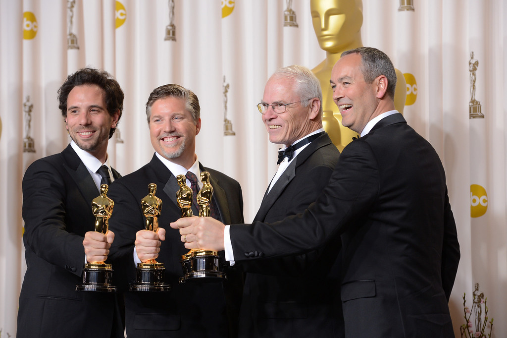 """. special effects team from \""""Life of Pi\"""" accept the award for best visual effects backstage at the 85th Academy Awards at the Dolby Theatre in Los Angeles, California on Sunday Feb. 24, 2013 ( David Crane, staff photographer)"""