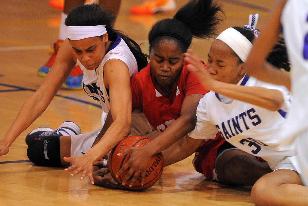 . LONG BEACH - 02/20/13 - (Photo: Scott Varley, Los Angeles Newspaper Group)  Serra and St. Anthony meet in the Quarterfinals of the Division 4AA CIF-SS girls basketball playoffs. From left, St. Anthony\'s Jordan Jackson, Serra\'s Siera Thompson and SA\'s Jordan Hixon dive after a loose ball.