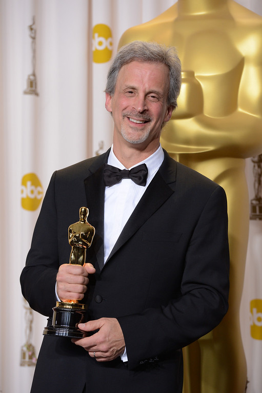 ". William Goldenberg accepts the award for best film editing for ""Argo\"" backstage at the 85th Academy Awards at the Dolby Theatre in Los Angeles, California on Sunday Feb. 24, 2013 ( David Crane, staff photographer)"