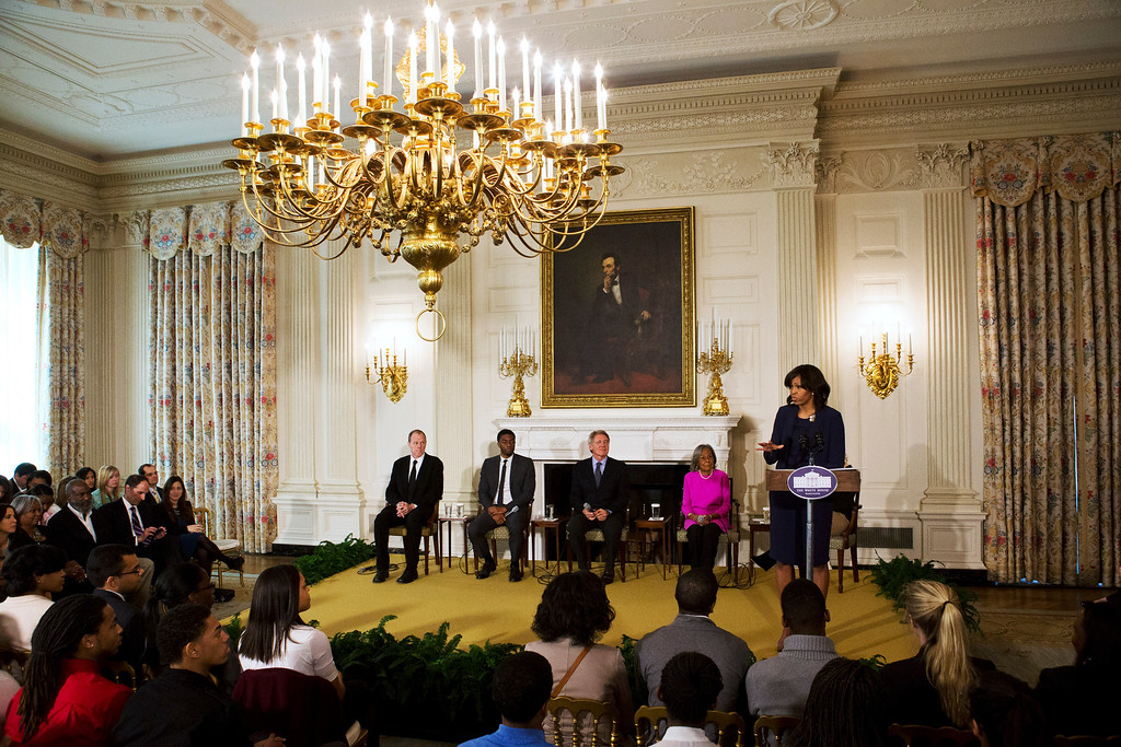 Description of . First Lady Michelle Obama, right, introduces a panel of the cast and crew of the movie