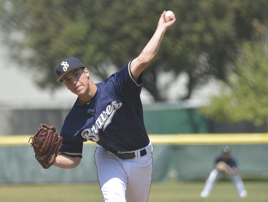 . SANTA FE SPRINGS, CALIF. USA -- St. John Bosco pitcher Reid Budrovich (5) delivers a pitch against St. Paul during their game at the St. Paul Tournament in Santa Fe Spring, Calif., on March 2, 2013. St. John Bosco defeated St. Paul, 4 to 2. Photo by Jeff Gritchen / Los Angeles Newspaper Group