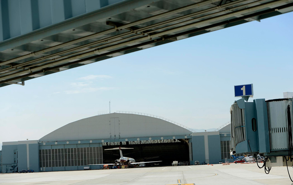 Description of . A view of a hanger being leased by Aviation And Defense Incorporated at the San Bernardino International Airport March 28, 2013.  Built on the former the site of the former Norton Air Force Base, the airport is often described by local officials as one of the East Valley's best hopes for economic growth. Norton closed in 1994.  GABRIEL LUIS ACOSTA/STAFF PHOTOGRAPHER.