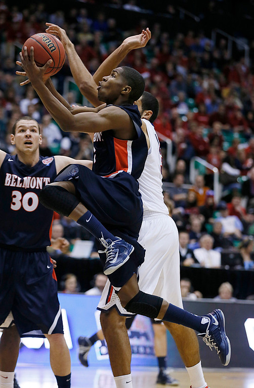 . Belmont\'s Kerron Johnson drives to the basket against Arizona in the second half of a second-round game in the NCAA men\'s college basketball tournament in Salt Lake City Thursday, March 21, 2013. Arizona beat Belmont 81-64. (AP Photo/George Frey)