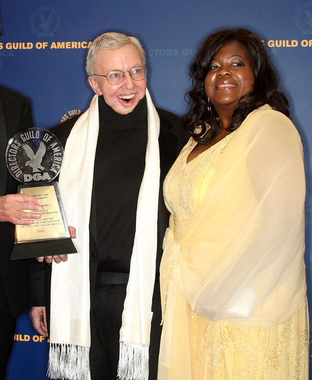 . LOS ANGELES, CA - JANUARY 31:  Film critic Roger Ebert and his wife Judge Chaz Hammelsmith pose in the press room with Roger\'s Honorary Life Membership Award during the 61st Annual Directors Guild of America Awards at the Hyatt Regency Century Plaza on January 31, 2009 in Los Angeles, California.  (Photo by Frederick M. Brown/Getty Images)