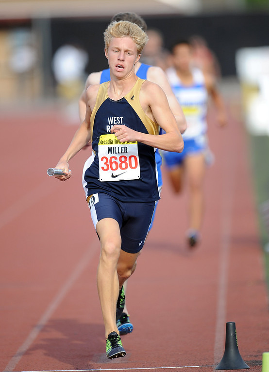 Description of . West Ranch's Pierce Miller runs the 4x800 Invitational during the Arcadia Invitational at Arcadia High School on Friday, April 5, 2013 in Arcadia, Calif.  (Keith Birmingham Pasadena Star-News)