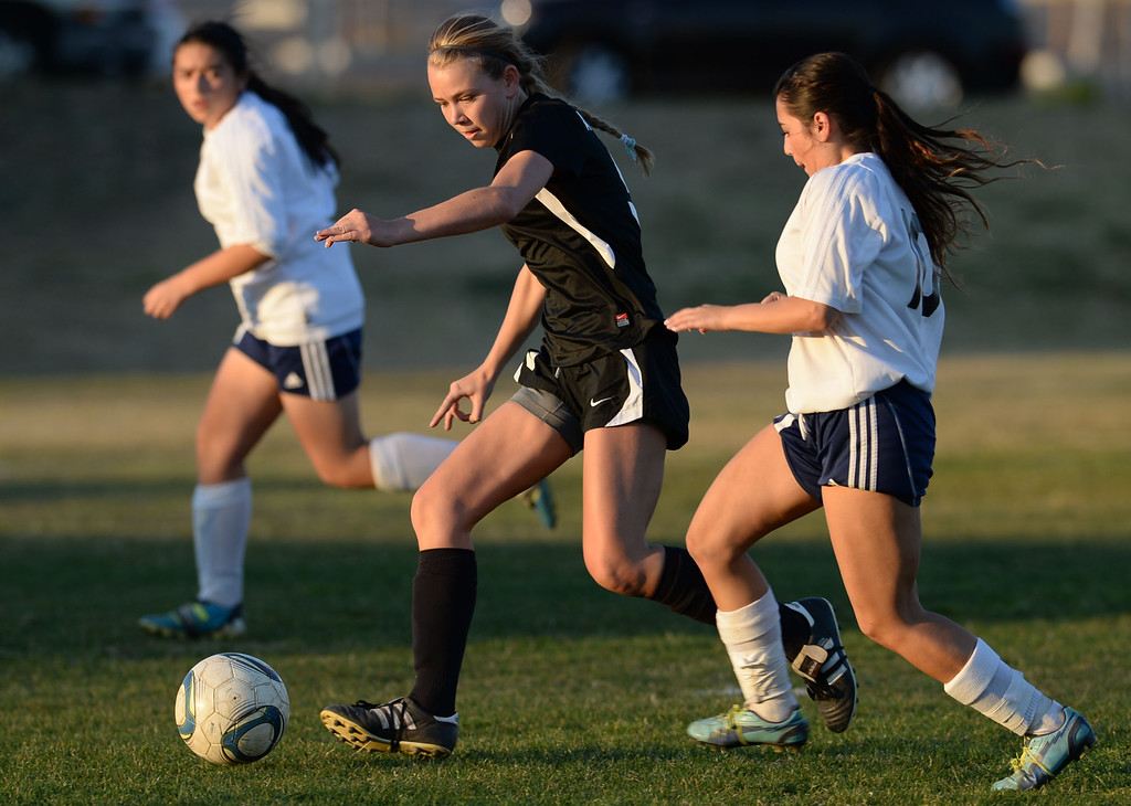 . Bishop Montgomery\'s Katie Atkinson (9) nears the Mary Star goal in a Del Rey League girls soccer game Thursday, January 16, 2014, San Pedro, CA. Regulation time resulted in a 1-1 tie, and then Bishop Montgomery scored two goals in overtime. Photo by Steve McCrank/Daily Breeze