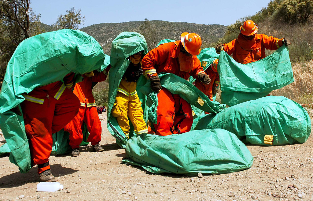 Description of . (4-23-13)--FONTANA-METRO--Cal Fire inmates from Fenner Canyon Fire Crews deploy their fire shelter during training exercises Tuesday April 23, 2013  off Lytle Creek Road in Fontana. Cal Fire inmate fire crews are participating in two days of fire preparedness exercises on timed hike, fire shelter deployment, progressive hose lay and hand line construction. LaFonzo Carter/Staff Photographer