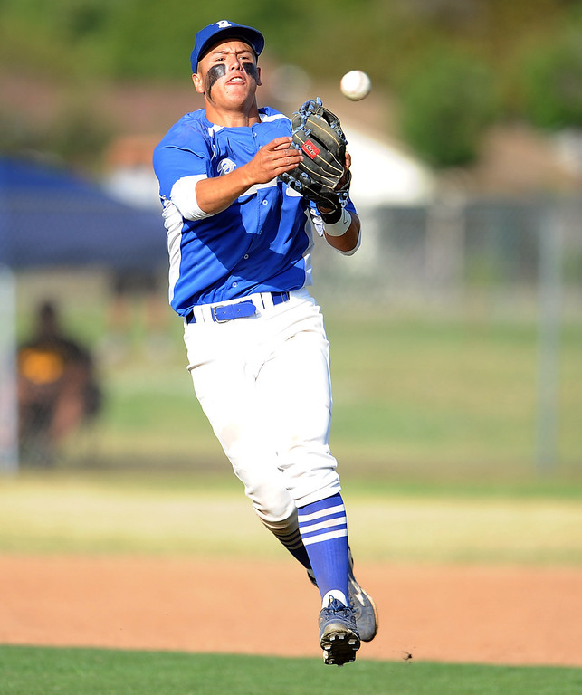 Description of . Baldwin Park shortstop Jonatan Huerta throws out Northview's Nick Chico (not pictured) in the sixth inning of a prep baseball game at Northview High School on Tuesday, April 23, 2012 in Covina, Calif. Northview won 8-2.    (Keith Birmingham/Pasadena Star-News)