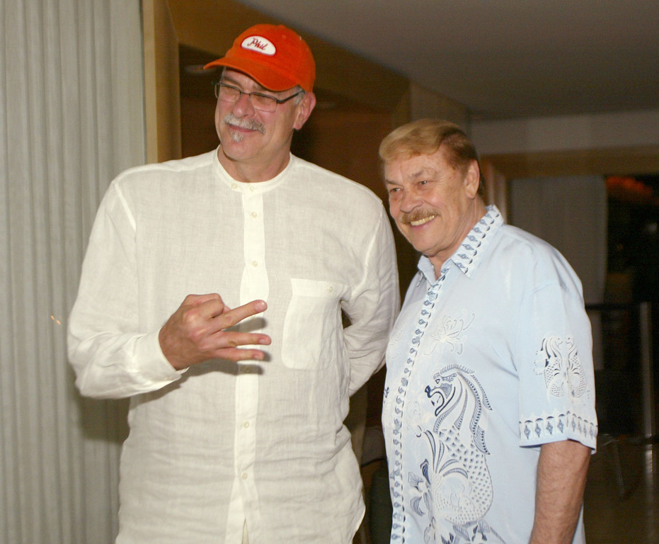 . Phil Jackson and Dr. Jerry Buss at a Los Angeles Lakers victory party hosted by owner Dr. Jerry Buss and coach Phil Jackson at the Mondrian Hotel in West Hollywood, Ca. Sunday, June 16, 2002. Photo by Kevin Winter/ImageDirect.