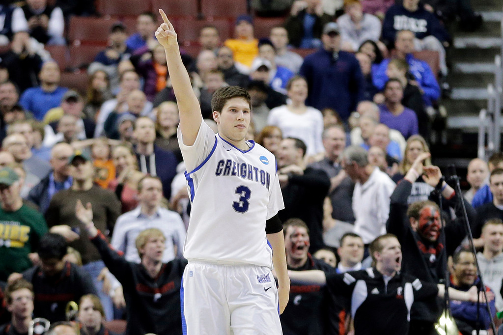 . Creighton\'s Doug McDermott reacts after a Cincinnati turnover in the final minute of the second half of a second-round game at the NCAA college basketball tournament, Friday, March 22, 2013, in Philadelphia. Creighton won 67-63. (AP Photo/Matt Slocum)