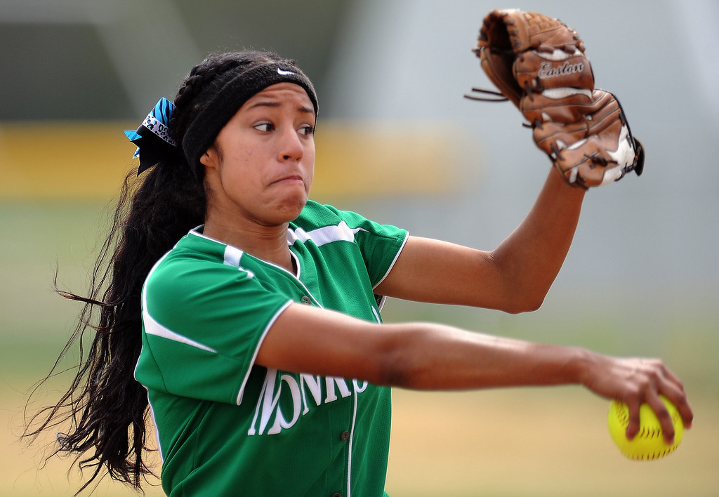 Description of . Monrovia starting pitcher Guerra Adrienne threw a no-hitter striking out 15 in defeating Covina 6-0 to win the Northview Tournament championship softball game at Northview High School on Thursday, April 4, 2013 in Covina, Calif.  Monrovia won 6-0. 