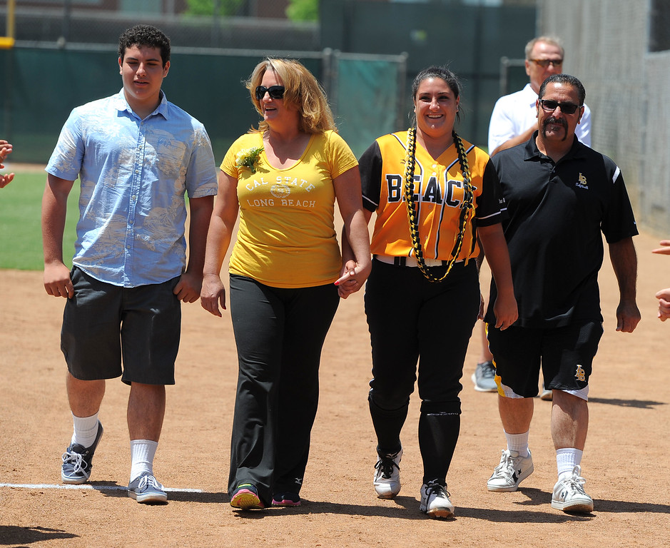 . Senior Hannah De Gaetano and her family before LBSU lost to Cal Poly softball 3-0 in Long Beach, CA on Sunday, May 4, 2014.  (Photo by Scott Varley, Daily Breeze)