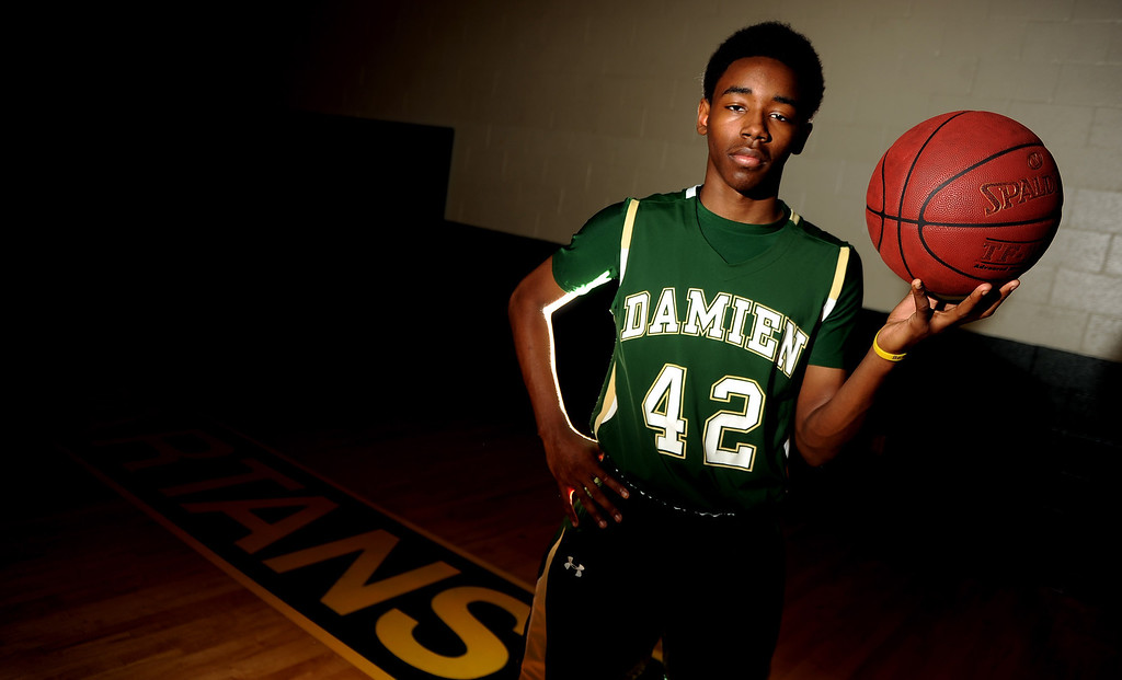Description of . Basketball player of the year Jeremy Hemsley at Damien High School on Wednesday, March 27, 2013 in La Verne, Calif.  (Keith Birmingham Pasadena Star-News)