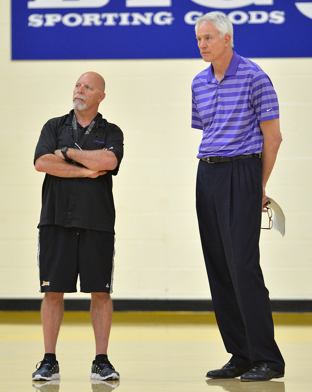 . Lakers host potential draft picks for workouts at Toyota Sports Center in El Segundo Friday June 20, 2014. Trainer Gary Vitti and GM Mitch Kupchak watch drills.     Photo By  Robert Casillas / Daily Breeze